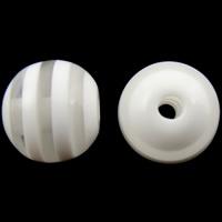 Żywica pasiasty perełki, żywica, Koło, pasek, biały, 10mm, otwór:około 2mm, 1000komputery/torba, sprzedane przez torba