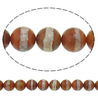 Natural Tibetan Agate Dzi Beads, Round, crackle, 14mm, Hole:Approx 1.5mm, Length:Approx 15.5 Inch, 2Strands/Lot, 28PCs/Strand, Sold By Lot
