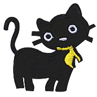 Iron on Patches, Cloth, Cat, black, 50x50mm, 100PCs/Lot, Sold By Lot