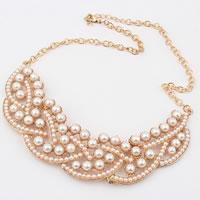 Ожерелья из стекла, Стеклянный жемчуг, с железный цепи & цинковый сплав, плакированный цветом розового золота, не содержит никель, свинец, 3x13cm, длина:Приблизительно 15.5 дюймовый, 5пряди/сумка, продается сумка