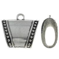 Zink Legering Sjaal bails, Zinc Alloy, Trapezium, antiek zilver plated, lood en cadmium vrij, 38x36x16mm, Gat:Ca 5mm, Verkocht door PC