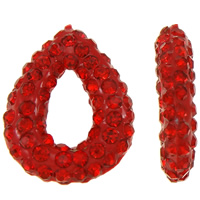 Rhinestone Clay Pave Beads, Teardrop, half-drilled, red, 12x14x3mm, Hole:Approx 0.3-0.8mm, 5PCs/Bag, Sold By Bag