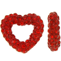 Rhinestone Clay Pave Beads, Heart, half-drilled, red, 13x12x3mm, Hole:Approx 0.3-0.8mm, 5PCs/Bag, Sold By Bag