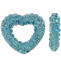 Rhinestone Clay Pave Beads, Heart, half-drilled, light blue, 13x12x3mm, Hole:Approx 0.3-0.8mm, 5PCs/Bag, Sold By Bag