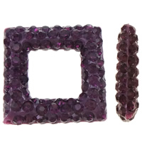 Half Drilled Rhinestone Beads, Rhinestone Clay Pave, Rhombus, half-drilled, violet, 15.50x15.50x4mm, Hole:Approx 0.3-0.8mm, 3PCs/Bag, Sold By Bag