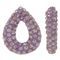 Rhinestone Clay Pave Beads, Teardrop, half-drilled, light purple, 12x14x3mm, Hole:Approx 0.3-0.8mm, 5PCs/Bag, Sold By Bag