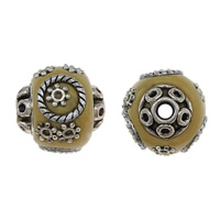 Indonesia Beads, with Zinc Alloy, Drum, antique silver color plated, clear orange, nickel, lead & cadmium free, 17x16mm, Hole:Approx 2.8mm, 100PCs/Lot, Sold By Lot