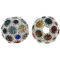 Rhinestone Brass Beads, Round, silver color plated, with rhinestone, nickel, lead & cadmium free, 15.5x15.5mm, Hole:Approx 3.5mm, 5PCs/Bag, Sold By Bag