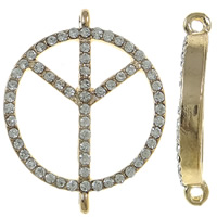 Zinc Alloy Connector, Peace Logo, KC gold color plated, with rhinestone & 1/1 loop, nickel, lead & cadmium free, 24x30x4.50mm, Hole:Approx 1.5mm, 10PCs/Bag, Sold By Bag