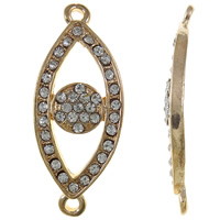 Zinc Alloy Connector, Evil Eye, KC gold color plated, with rhinestone & 1/1 loop, nickel, lead & cadmium free, 37x15x3mm, Hole:Approx 2mm, 10PCs/Bag, Sold By Bag