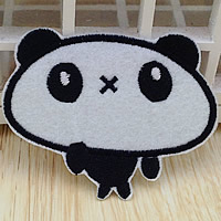 Iron on Patches, Cloth, Panda, 66x51mm, 100PCs/Lot, Sold By Lot