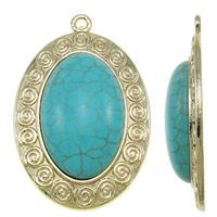 Turquoise Zinc Alloy Pendants, with turquoise, Flat Oval, real gold plated, high quality plating and never fade, nickel, lead & cadmium free, 30x45x8mm, Hole:Approx 2mm, 10PCs/Bag, Sold By Bag