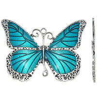 Animal Zinc Alloy Connector, Butterfly, antique silver color plated, enamel & 1/1 loop, blue, nickel, lead & cadmium free, 86x65x2mm, Hole:Approx 4mm, 10PCs/Bag, Sold By Bag