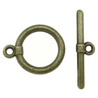 Zinc Alloy Toggle Clasp, Donut, antique bronze color plated, single-strand, nickel, lead & cadmium free, 15x18x2mm, 24x6x2mm, Hole:Approx 1.5mm, Approx 665Sets/KG, Sold By KG