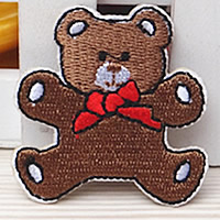 Iron on Patches, Cloth, Bear, brown, 50x45mm, 100PCs/Lot, Sold By Lot