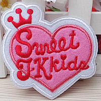 Iron on Patches, Cloth, Heart, 70x75mm, 100PCs/Lot, Sold By Lot