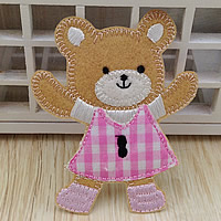 Iron on Patches, Cloth, Bear, 73x90mm, 100PCs/Lot, Sold By Lot
