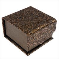 Kartonowe pudełko na pierścienie, Papier, ze Welwet, Kwadrat, brązowy, 55x55x35mm, 40komputery/wiele, sprzedane przez wiele