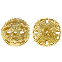 Iron Jewelry Beads, Round, gold color plated, hollow, nickel, lead & cadmium free, 8mm, Hole:Approx 0.5mm, 1000PCs/Bag, Sold By Bag