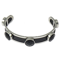 Stainless Steel Cuff Bangle with Cowhide   Acrylic faceted black 12mm 12mm Length:Approx 8 Inch 5PCs/Lot