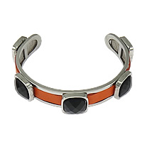 Stainless Steel Cuff Bangle with Cowhide   Acrylic faceted reddish orange 13.5mm 12mm Length:Approx 8 Inch 5PCs/Lot