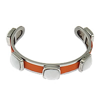 Stainless Steel Cuff Bangle, with Cowhide & Acrylic, faceted, reddish orange, 13.5mm, 12mm, Length:Approx 8 Inch, 5PCs/Lot, Sold By Lot