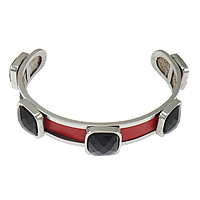 Stainless Steel Cuff Bangle, with Cowhide & Acrylic, faceted, red, 13.5mm, 12mm, Length:Approx 8 Inch, 5PCs/Lot, Sold By Lot