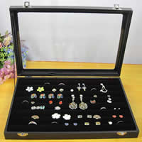 Wood Ring Box, with Velveteen & Glass & Zinc Alloy, Rectangle, black, 350x240mm, 3PCs/Lot, Sold By Lot