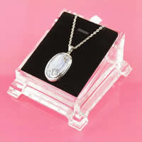 Organic Glass Necklace Display, with PU & Velveteen, 80x90mm, 10PCs/Lot, Sold By Lot