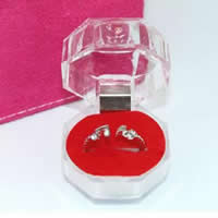 Acrylic Single Ring Box, with Sponge & Velveteen, red, 38x38mm, 200PCs/Lot, Sold By Lot