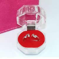 Akryl Pojedyncze pudełko na pierścionek, ze Gąbka & Welwet, czerwony, 38x38mm, 200komputery/wiele, sprzedane przez wiele