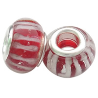 Szklane koraliki European, Lampwork, Okrąg, Ręcznie robione, mosiężny podwójny środek bez gwintu & pasek, czerwony, bez zawartości niklu, ołowiu i kadmu, 8.5x14mm, otwór:około 5mm, 50komputery/torba, sprzedane przez torba
