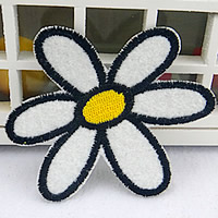 Iron on Patches, Cloth, Flower, white, 70x68mm, 100PCs/Lot, Sold By Lot