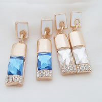 Zinc Alloy Drop Earring, with Glass, stainless steel earring post, Rectangle, gold color plated, enamel & with rhinestone, mixed colors, nickel, lead & cadmium free, 30x16mm, 12Pairs/Bag, Sold By Bag