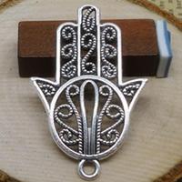 Zinklegering Hamsa Hangers, Zinc Alloy, antiek zilver plated, Joodse Jewelry & Islam sieraden, nikkel, lood en cadmium vrij, 44x29mm, Gat:Ca 1-3mm, 300pC's/Lot, Verkocht door Lot