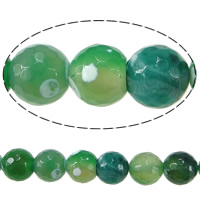 Natural Green Agate Beads, Round, faceted, 10mm, Hole:Approx 1.2mm, Length:Approx 15.5 Inch, 10Strands/Lot, 39/Strand, Sold By Lot