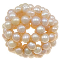 Koraliki z hodowlanych pereł w kształcie piłki, Perła naturalna słodkowodna, Koło, różowy, 40mm, sprzedane przez PC