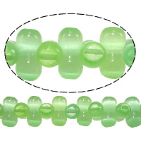 Cats Eye Jewelry Beads, Barbell, green, 6x12mm, Hole:Approx 1mm, Length:Approx 15 Inch, 10Strands/Lot, Approx 55PCs/Strand, Sold By Lot