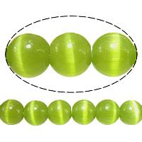 Cats Eye Jewelry Beads, Round, green, 5mm, Hole:Approx 1mm, Length:Approx 16 Inch, 20Strands/Lot, Approx 93PCs/Strand, Sold By Lot