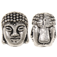 Zinc Alloy Jewelry Beads Buddha antique silver color plated nickel lead   cadmium free 9x11x8mm Hole:Approx 2mm Approx 397PCs/KG