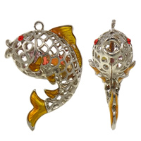 Zinc Alloy Animal Pendants, with Crystal, Fish, platinum color plated, enamel & with rhinestone & hollow, lead & cadmium free, 43x61x27mm, Hole:Approx 3mm, 10PCs/Bag, Sold By Bag