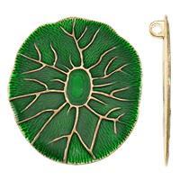Wisiorki szkliwa ze stopów cynku, Stop cynku, Platerowane w kolorze złota, emalia, zielony, bez zawartości ołowiu i kadmu, 57x71x9mm, otwór:około 5mm, sprzedane przez PC