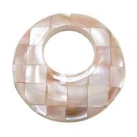Wisiorki z naturanej różowej muszli, Muszla różowa, Pączek, Mozaika, 35x7mm, otwór:około 16mm, 10komputery/wiele, sprzedane przez wiele