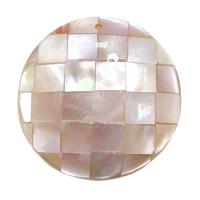 Wisiorki z naturanej różowej muszli, Muszla różowa, Płaskie koło, Mozaika, 35x7.50mm, otwór:około 1.5mm, 10komputery/wiele, sprzedane przez wiele