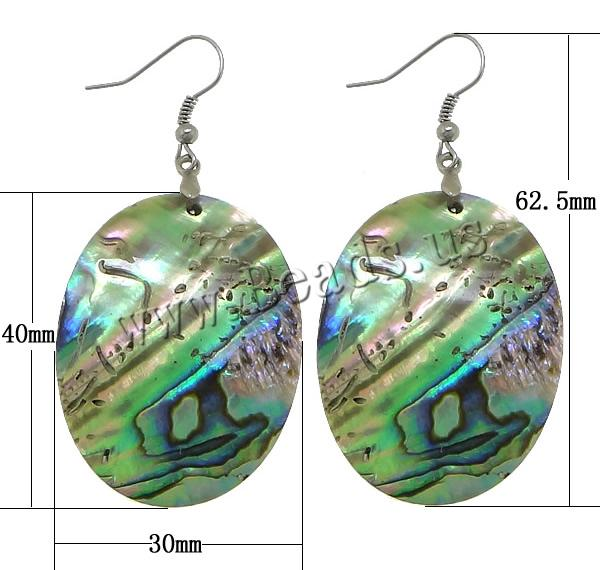 Buy Abalone Shell Drop Earring brass earring hook Flat Oval platinum color plated 62.5mm 30x40x2mm 10Pairs/Lot Sold Lot