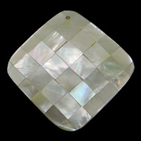 Natural White Shell Pendants, Rhombus, mosaic, 43x42x7.50mm, Hole:Approx 1.8mm, 10PCs/Lot, Sold By Lot