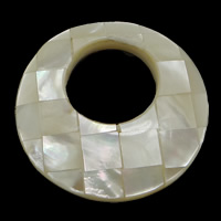 Natural White Shell Pendants, Donut, mosaic, 34.50x34.50x6.50mm, Hole:Approx 16mm, 10PCs/Lot, Sold By Lot
