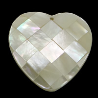 Natural White Shell Pendants, Heart, mosaic, 33x33x7.50mm, Hole:Approx 1.5mm, 10PCs/Lot, Sold By Lot