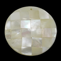Natural White Shell Pendants, Flat Round, mosaic, 34.50x34.50x6.50mm, Hole:Approx 1.5mm, 10PCs/Lot, Sold By Lot