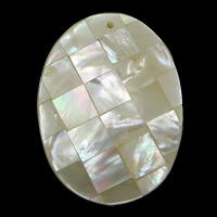 Natural White Shell Pendants, Flat Oval, mosaic, 30x39.50x7.50mm, Hole:Approx 1.5mm, 10PCs/Lot, Sold By Lot
